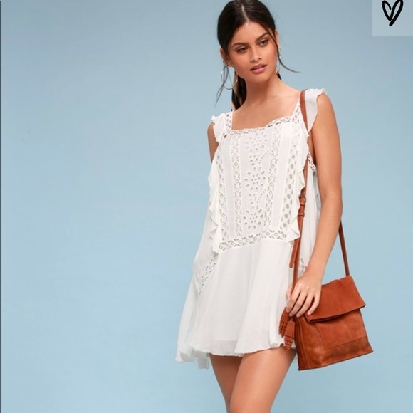 Free People Dresses Priscilla White Crochet Mini Dress Poshmark